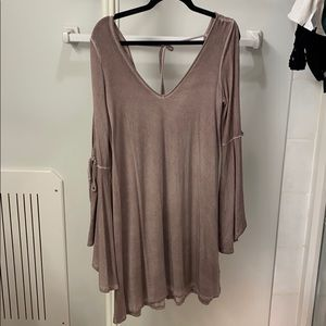 Boho summer dress, mauve color, cut out on sleeve